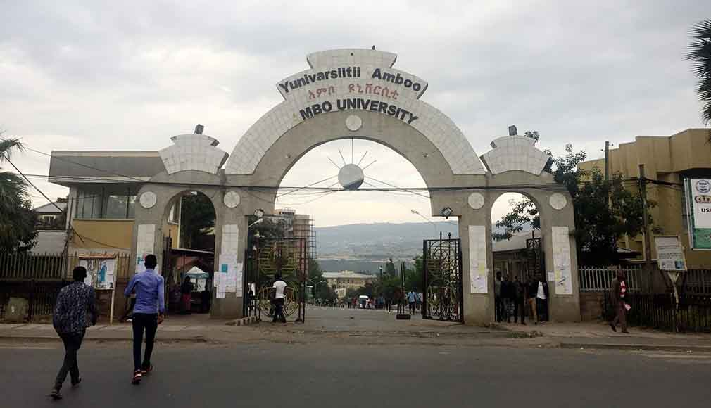 The gates of Ambo University.