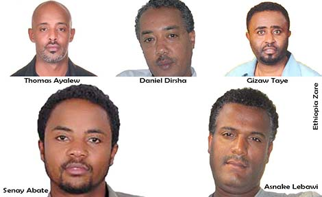 (ከላይ ከግራ ወደቀኝ) ቶማስ አያሌው፣ ዳንኤል ድርሻ እና ግዛው ታዬ፣ (ከታች) ሰናይ አባተ እና አስናቀ ልባዊ (Top, left to right) Thomas Ayalew, Daniel Dirsha and Gizawe Taye. (Bottom, left to right) Senay Abate and Asnake Lebawi