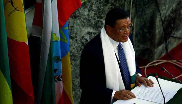 Ethiopian president Mulatu Teshome addresses members of the Ethiopian Parliament.