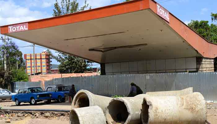 Shuttered Total fuel station in Addis Ababa