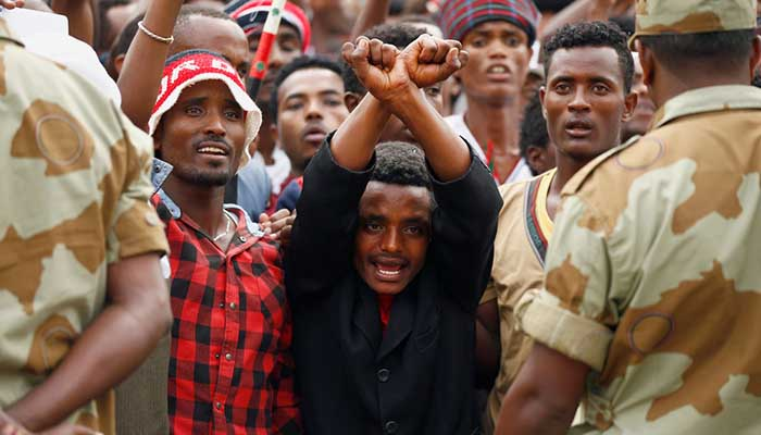 Demonstrators in Oromia region